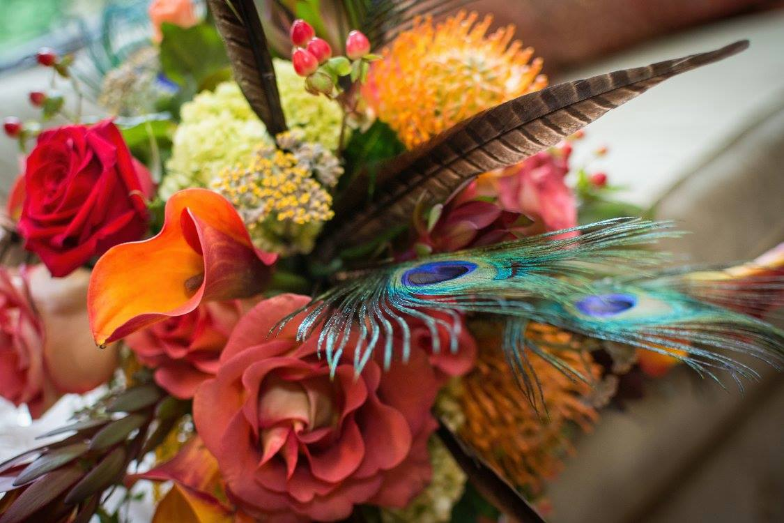 Floral Arrangement with Feathers