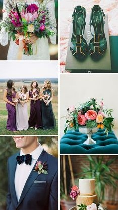 Jeweled toned wedding color palette example
