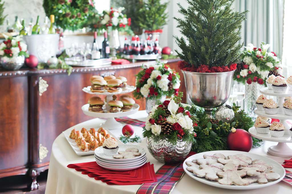 Corporate Holiday Party Buffet Table; photo courtesy of Celebrate Magazine