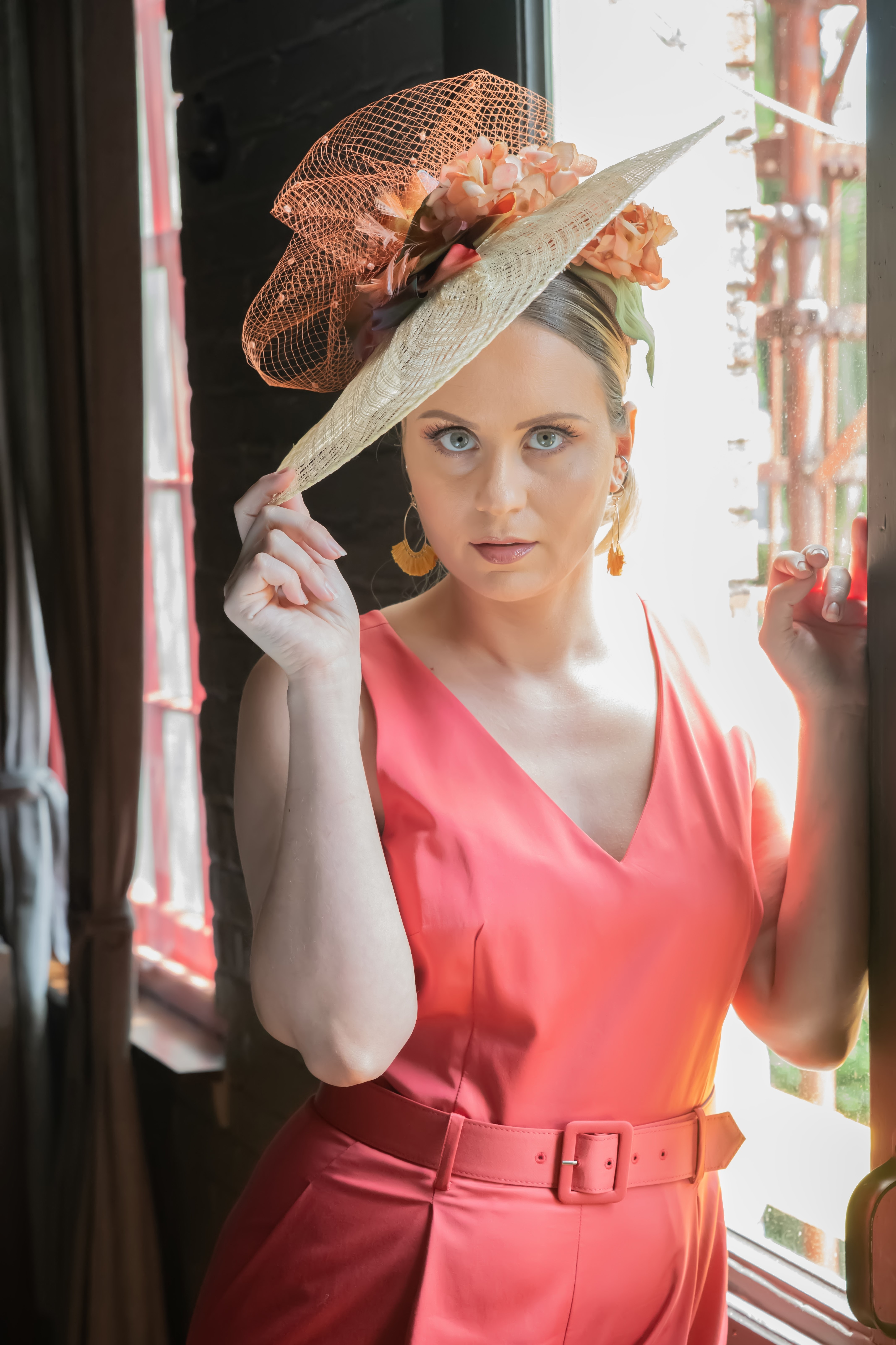 Model Sindel Taylor showing off a custom hat designed for this styled shoot by What A Great Hat based in Akron, Ohio