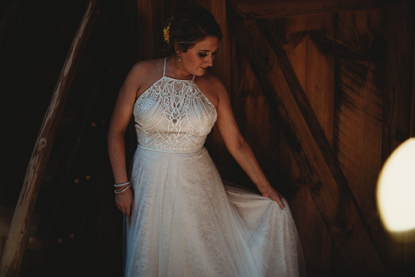 Allison in her gorgeous boho style gown with crochet detailing