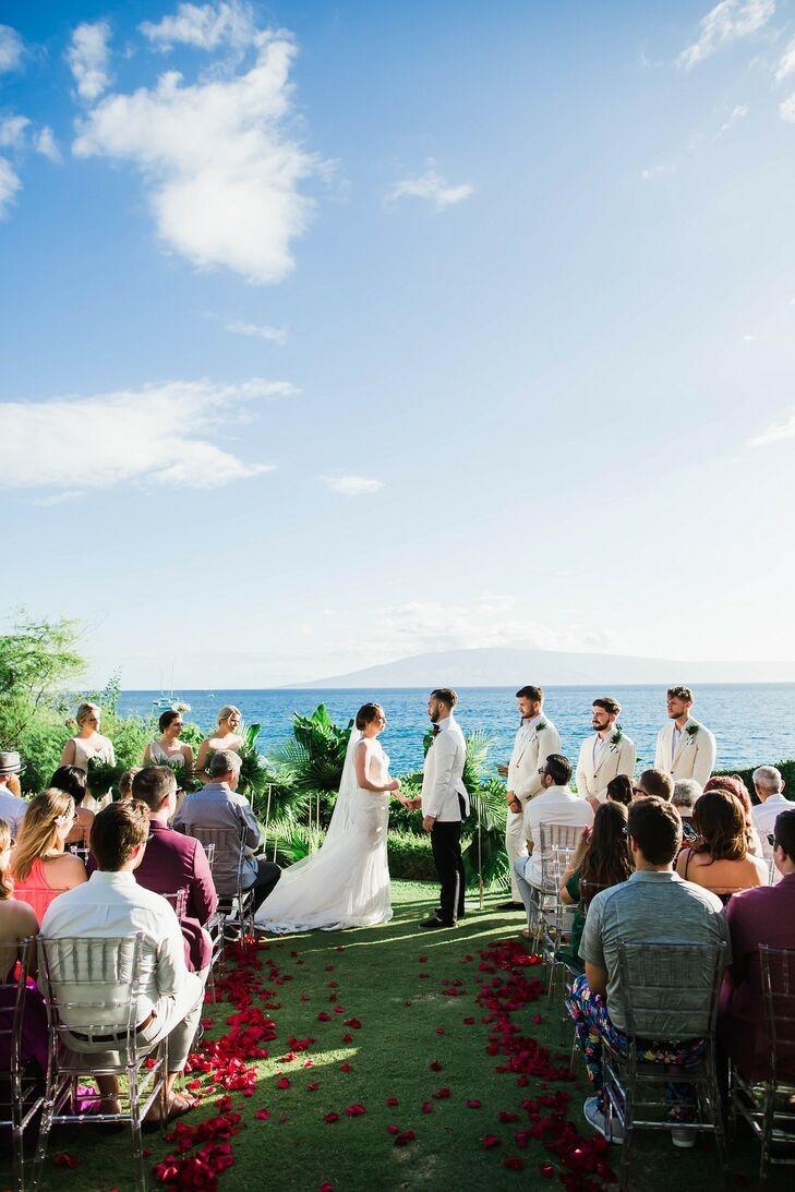Intimate wedding ceremony along the coast of Maui Photo| by NV Maui Media