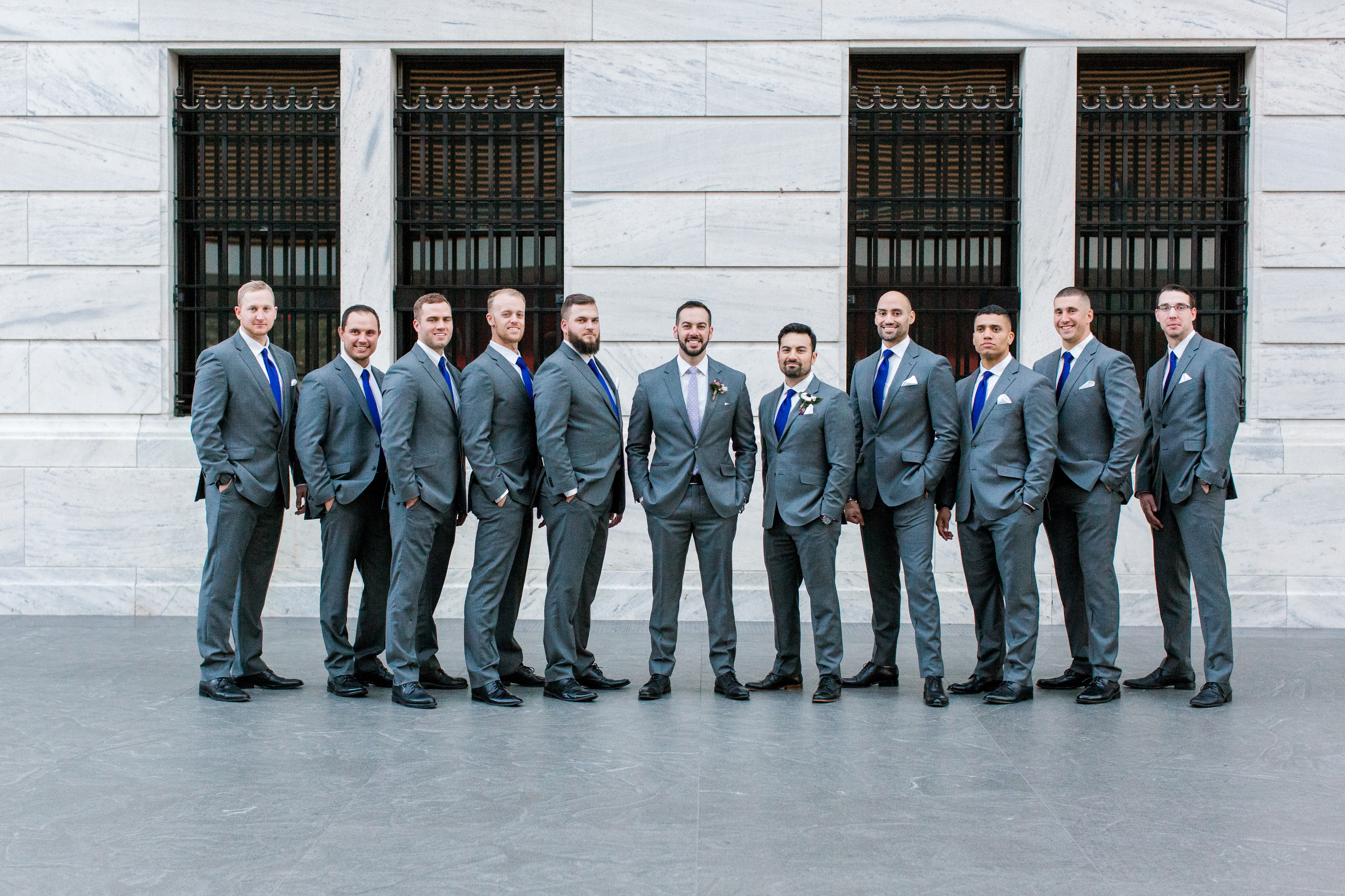 Troy and his dapper groomsmen posing in front of the stately Cleveland Art Museum. Photo by: Marissa Camino Photography