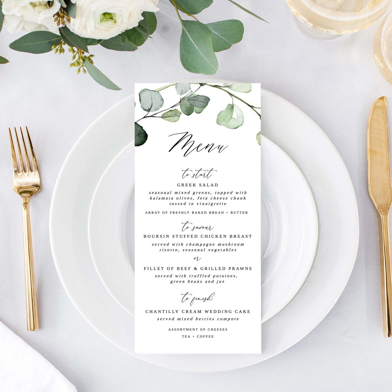 Custom wedding menu card by Citrus Press Co.